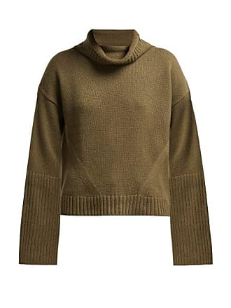 Nili Lotan Roll Neck Ribbed Cashmere Sweater - Womens - Khaki