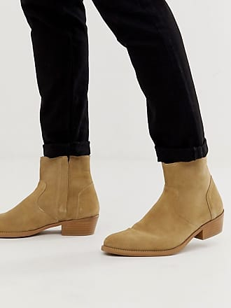 c0a1c032a587e Asos stacked heel western chelsea boots in stone suede with natural sole -  Stone