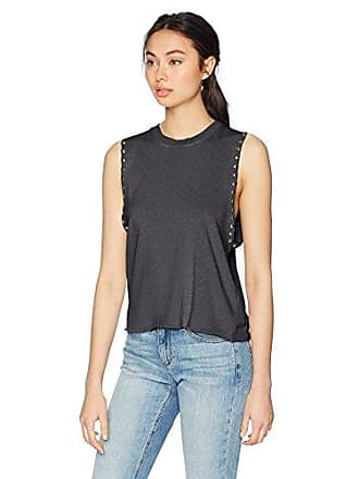 Monrow Womens Sleeveless Sweatshirt w/Studs, Vintage Black Large