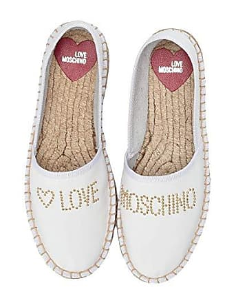Love Moschino Studded Espadrilles (White) Womens Shoes