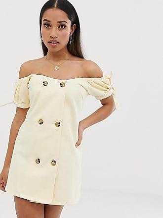 fc2b90d1586 Asos Petite ASOS DESIGN Petite - Robe courte coupe croisée en jean à  encolure Bardot -