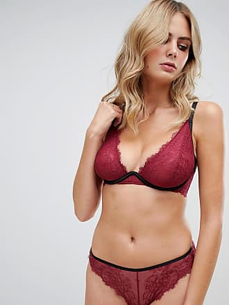 9896bf6580cb7 Wolf   Whistle high apex exposed wire lace bra in burgundy - Purple