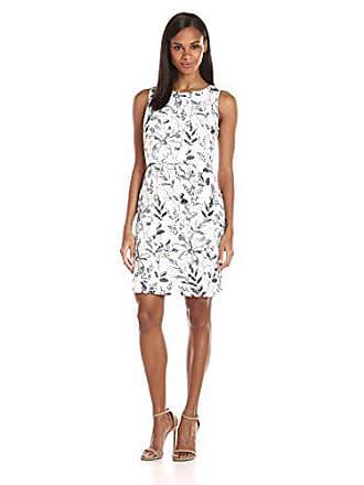 Ivanka Trump Womens Linen Sleeveless Printed POP Over Dress Ivory/Navy 16