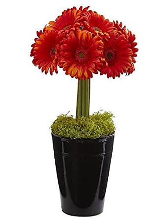 Nearly Natural 1630-OR Gerber Daisy Artificial Black Vase Silk Arrangements Orange