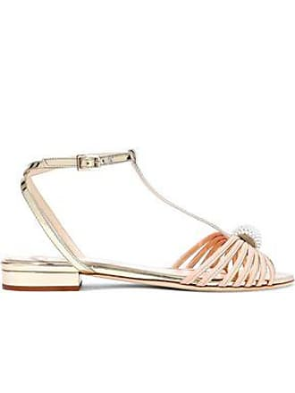 Lanvin Lanvin Woman Faux Pearl-embellished Matte And Mirrored-leather Sandals Gold Size 39