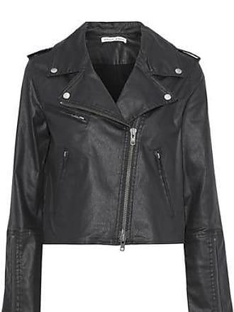 Rebecca Minkoff Rebecca Minkoff Woman Patti Cropped Coated-denim Biker Jacket Black Size M
