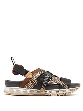 0d5b6b7902fe Fendi Ff Print Bubble Sole Leather Sandals - Mens - Black