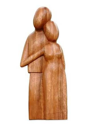 Novica Wood sculpture, Young Family - Handcrafted Romantic Wood Sculpture