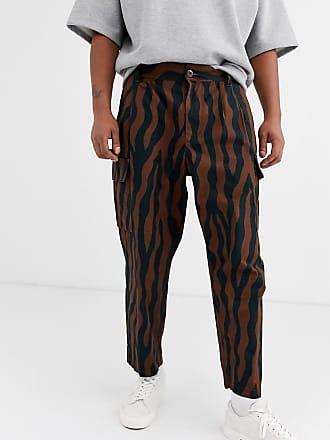 Obey Fubar zebra patterned cargo trouser in brown