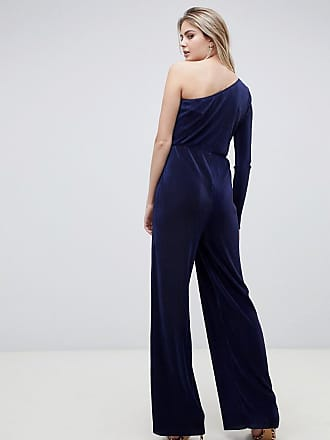 6bd478ec683 Asos Tall ASOS DESIGN Tall one shoulder plisse jumpsuit - Navy