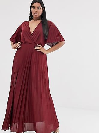 Asos Curve ASOS DESIGN Curve - Vestito lungo stile kimono a pieghe-Rosso