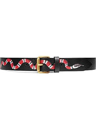 65b8cf1b28a Gucci Leather belt with Kingsnake - Black