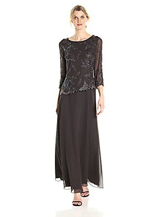 J Kara Womens Long Scoop Neck Asymetrical Beaded Dress, Slate/Mercury/Gun, 12