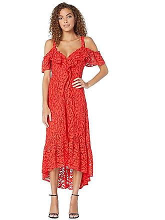 Bcbgmaxazria High-Low Lace Dress (Scarlet) Womens Dress
