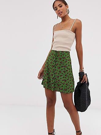 8df9bf9e06421f Asos Tall ASOS DESIGN Tall button front mini skirt in green floral print