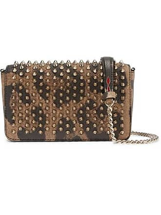 8db134fb236 Christian Louboutin Zoompouch Spiked Leopard-print Leather Shoulder Bag -  Brown