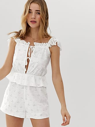 4043ff3e643 Asos broderie frill sleeve tie front peplum playsuit
