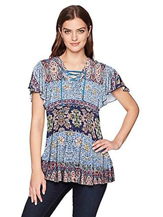 9e9039d0dffc64 Oneworld Womens Flutter Sleeve Peplum Top with Lace Up Neck