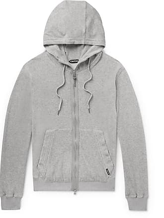 Tom Ford Cotton-blend Velour Zip-up Hoodie - Gray