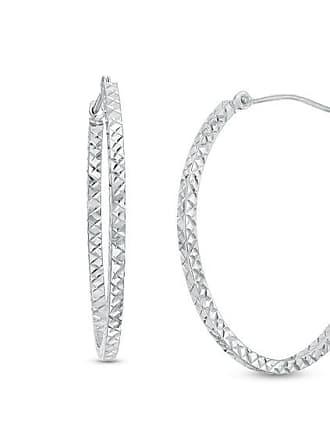 2df31277bf8c Zales Diamond-Cut Oval Hoop Earrings in 14K White Gold
