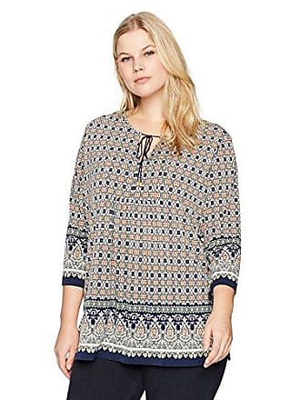 41088f71132 Jones New York Womens Plus Size Border Print 3/4 Sleeve Tunic, Paisley Grid