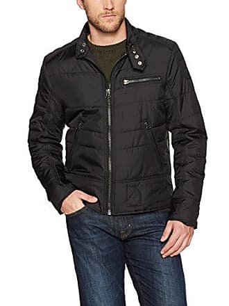 William Rast Mens Ratso Quilted Moto Jacket, Black, Medium