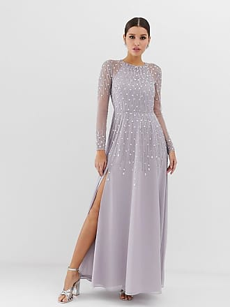 Asos maxi dress in delicate linear sequin with long sleeves - Gray
