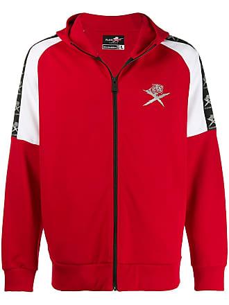 Plein Sport Jaqueta com capuz e zíper - Vermelho