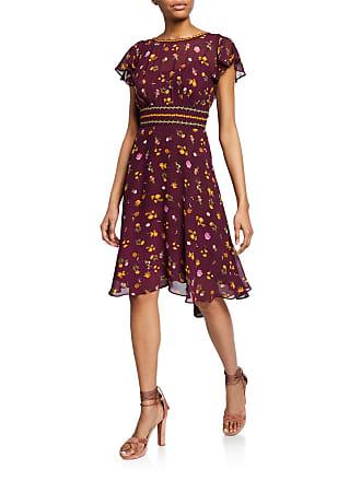 Max Studio Floral-Print Ruffle Tie-Back Dress
