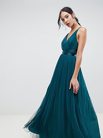 7a575f618d30 Asos Tall ASOS DESIGN Tall Premium Tulle Maxi Prom Dress With Ribbon Ties -  Green