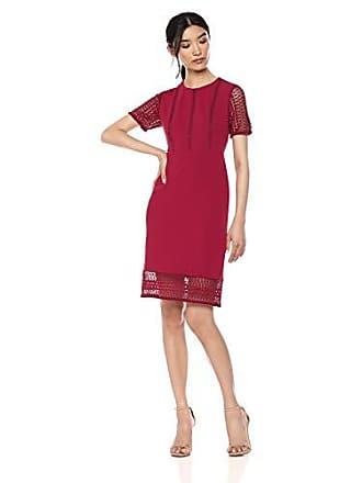 Ivanka Trump Womens Cap Sleeve Lace Scuba Crepe Sheath Dress, Scarlet 14