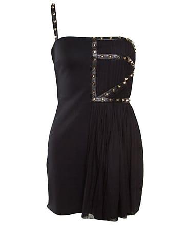83c789d5539 Versace Black Jersey Plisse Overlay Studded One Shoulder Mini Dress S
