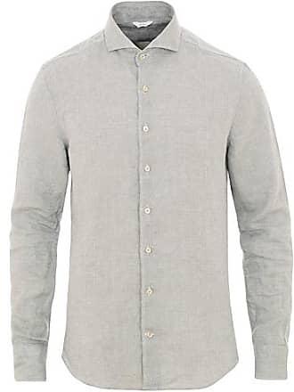 Stenströms Slimline Cut Away Linen Shirt Light Grey 377804bab8493