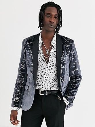 Twisted Tailor Blazer super skinny in velluto grigio piombo screpolato