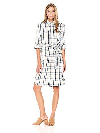 Max Studio Womens Rayon Plaid Bell Sleeve Dress with Tie Waist, Chambray, X-Large