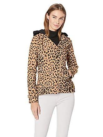 Yoki Womens Leopard Print Short Wool Jacket, Camel, Large