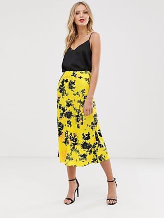 903040d7d509 Asos bias cut satin slip midi skirt in smudged yellow floral print