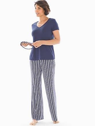 Soma Cool Nights V-Neck Short Sleeve Pajama Set With Eyemask Cottage Stripe W Navy, Size XXL
