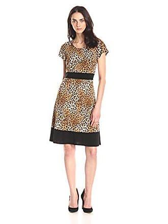 c2ff09b5d Star Vixen Womens Short Sleeve Colorblock Skater Dress, Brown/Leopard  Black, Large