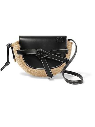 b3b9f81d24 Loewe Gate Mini Leather And Raffia Shoulder Bag - Black