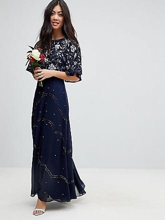 Asos Petite Vestido largo con mangas onduladas y estampado floral con  adornos de ASOS DESIGN Petite ac911b42fe83