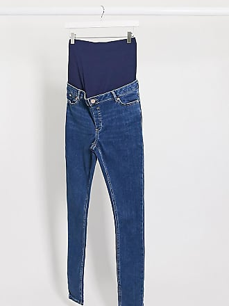 Asos Maternity ASOS DESIGN Maternity Tall Ridley high waist skinny jeans in bright midwash blue with over bump waistband