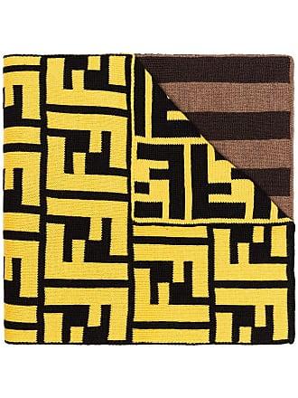Fendi FF-logo striped knit scarf - Marrom