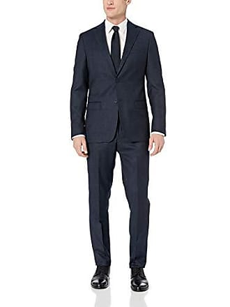 DKNY Mens Crosstown Slim Soft Suit, Navy, 38 Regular