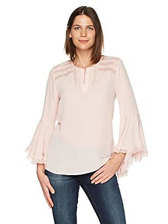 d4a31e79f5621 Ivanka Trump Womens Georgette Slit Neck Long Bell Sleeve Lace Trim Blouse
