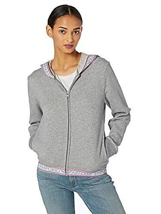 Emporio Armani Womens Stretch Cotton Full Zip Jacket and Hood, Melange Grey Medium