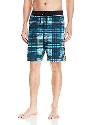 ZeroXposur Mens Wicked Checkered Volley Swim Short, Teal Ripple, X-Large