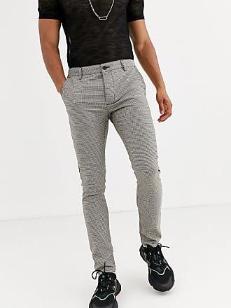 Topman skinny trousers in brown heritage check-Navy