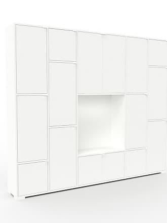 MYCS Bibliothèque murale - Blanc, modèle moderne, étagère, avec porte Blanc - 231 x 196 x 35 cm, modulable