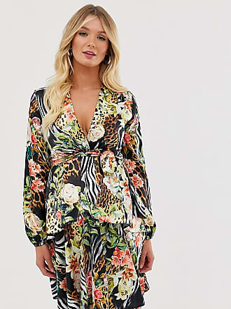 Queen Bee Maternity plunge front skater dress in tropical print-Multi